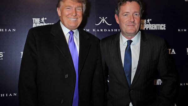 Donald Trump, left, and Piers Morgan arrive for the Perfumania party celebrating the appearance of Kim Kardashian on the reality show The Apprentice, Wednesday, Nov. 10, 2010, in New York. - Sputnik International