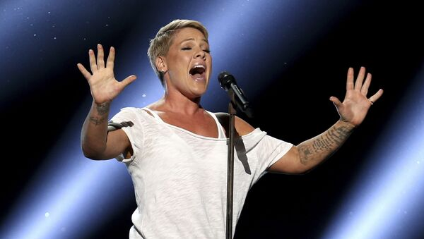 Pink performs Wild Hearts Can't Be Broken at the 60th annual Grammy Awards at Madison Square Garden on Sunday, Jan. 28, 2018, in New York - Sputnik International