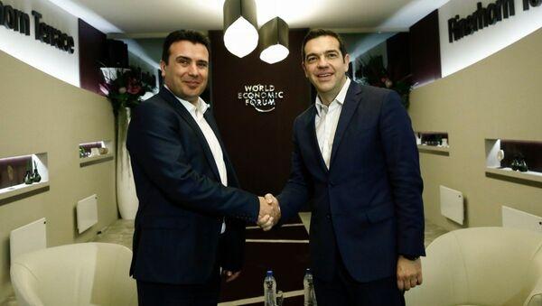 Zoran Zaev and Alexis Tsipras in Davos - Sputnik International