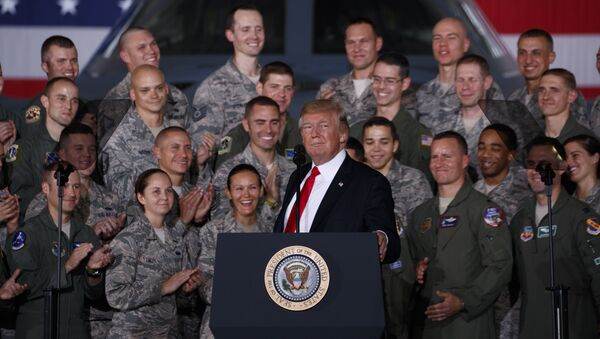 President Donald Trump speaks to military personnel and their families at Andrews Air Force Base, Friday, Sept. 15, 2017, in Andrews Air Force Base, Md. - Sputnik International