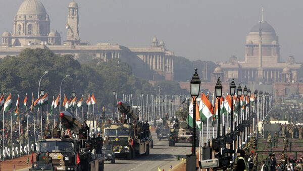 In this Jan. 23, 2006 file photo, indigenously developed medium range missiles Agni-I, left, and Agni-II, right, are displayed during Republic Day rehearsals, in the backdrop of the presidential Palace in New Delhi, India. India successfully tested a medium-range version of its most powerful nuclear-capable missile on Thursday, Nov. 25, 2010, as part of an army training exercise Defense Ministry spokesman Sitanshu Kar said. The upgraded Agni-1, with a 435-mile (700-kilometer) range, was fired from a testing range on an island off the eastern state of Orissa, Kar said. - Sputnik International