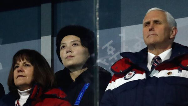 US Vice President Mike Pence (R), North Korea's Kim Jong Un's sister Kim Yo Jong (C) and wife of US Vice President Karen Pence attend the opening ceremony of the Pyeongchang 2018 Winter Olympic Games at the Pyeongchang Stadium - Sputnik International