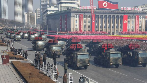 Military vehicles are seen at a grand military parade celebrating the 70th founding anniversary of the Korean People's Army at the Kim Il Sung Square in Pyongyang, in this photo released by North Korea's Korean Central News Agency (KCNA) February 9, 2018. - Sputnik International