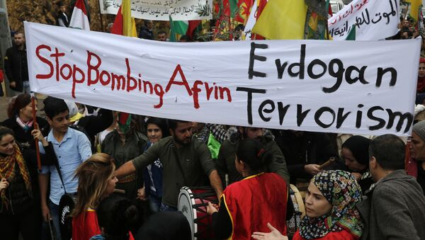 In this Friday, Jan. 26, 2018 file photo, Kurdish demonstrators, protest against the operation by the Turkish army aimed at ousting the U.S.-backed Kurdish militia from the area in Afrin, Syria, in Rabiyeh, east of Beirut, Lebanon. Syria's Kurdish militia is growing frustrated with its patron, the United States, and is pressing it to do more to stop Turkey's assault on Afrin. Their complaints reflect the differing agendas. The Kurds want to ensure their self-rule, while the U.S. wants them to focus on governing the territory they wrested from IS militants. - Sputnik International