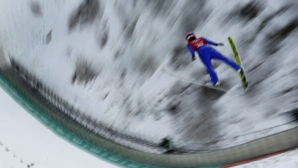 Yuki Ito, of Japan, practices for the women's ski jump competition in the 2018 Winter Olympics at the Alpensia Ski Jumping Center in Pyeongchang, South Korea, Saturday, Feb. 10, 2018. - Sputnik International