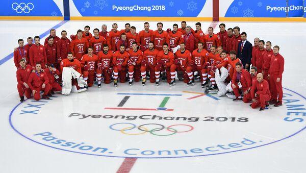 2018 Winter Olympics. Russia's hockey team's group photo session - Sputnik International