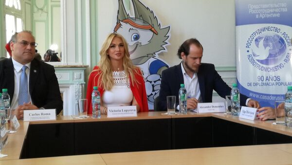 Victoria Lopyreva, ambassador of the 2018 FIFA World Cup Russia, during her official visit to Argentina - Sputnik International