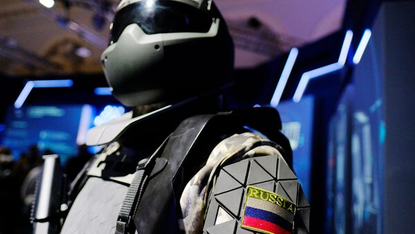 A model of a battle suit from the Central Scientific - Research Institute for Precision Machine Engineering (the institute is part of the Rostech state corporation) at the Russia Focused on the Future exhibition held in the Manezh Central Exhibition Hall, Moscow. (File) - Sputnik International