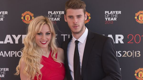 Manchester United's goalkeeper David De Gea arrives with his girlfriend Edurne Garcia Almagro for the team's Player of the Year Awards dinner at Old Trafford Stadium, Manchester, England, Wednesday May 15, 2013. - Sputnik International