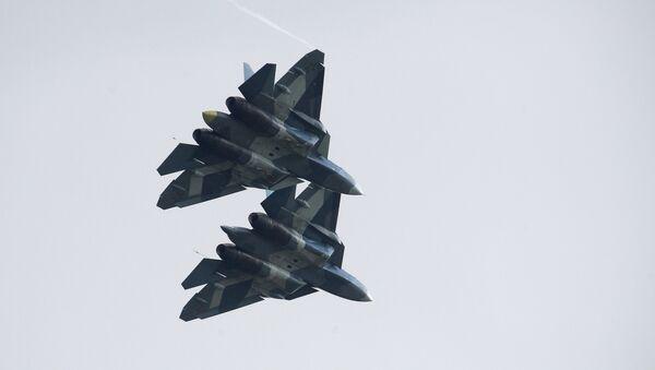 Russian Su-57 fifth-generation fighter aircrafts at the International Aviation and Space Salon MAKS-2017 - Sputnik International