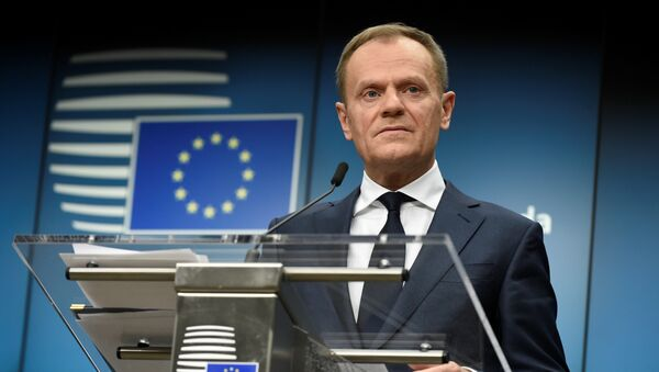 European Council Council Donald Tusk holds a joint press conference with the European Commission President after an informal meeting of the 27 EU heads of state or government at the European Council headquarters in Brussels on February 23, 2018 - Sputnik International