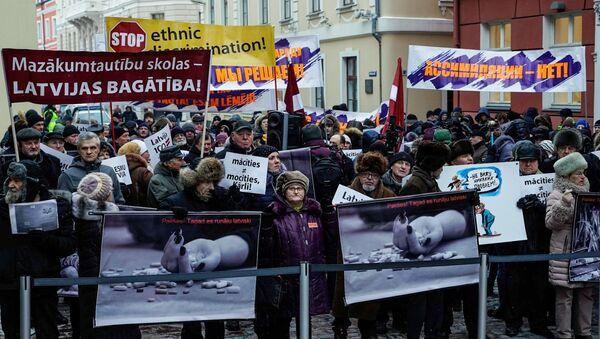 Participants in a rally against education reforms in Riga. File photo - Sputnik International