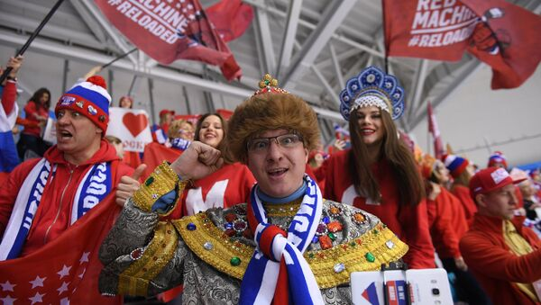 Russian fans at the final match between Russia and Germany in the men's ice hockey tournament at the 2018 Winter Olympics - Sputnik International