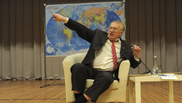 Vladimir Zhirinovsky, leader of the Liberal Democratic Party of Russia (LDPR) and candidate in the upcoming presidential election, attends a meeting with students as he visits the Don State Technical University in Rostov-on-Don, Russia February 9, 2018 - Sputnik International