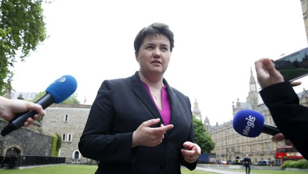 Scottish Conservative Party leader Ruth Davidson gives a series of TV interviews near the Palace of Westminster, in London, Monday May 15, 2017 - Sputnik International