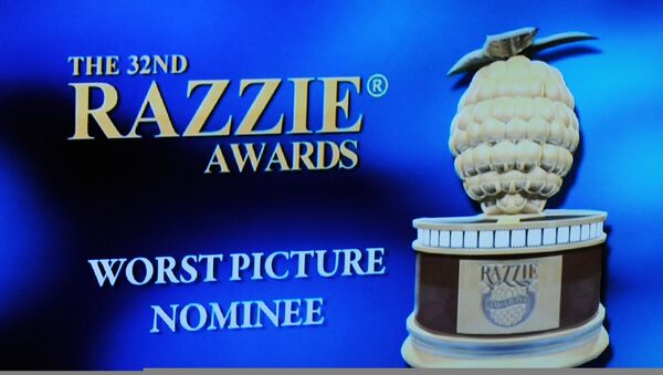 (File) The Razzie award logo is displayed on stage at the 32 annual Golden Raspberry or Razzies Awards, April 1, 2012 in Santa Monica, California - Sputnik International