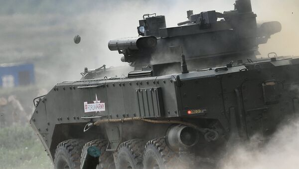 The K-17 'Bumerang' infantry fighting vehicle is seen here during a show of modern and prospective weaponry at the Army 2017 International Military-Technical Forum, Moscow Region - Sputnik International
