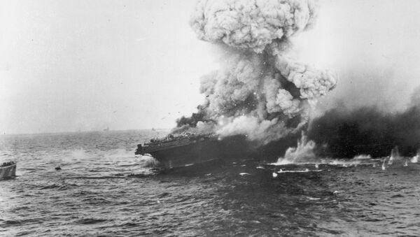 USS Lexington after Japanese bombers target ship - Sputnik International