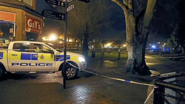 Police cordon off the area near the Maltings in Salisbury, England, where British media reported Monday, March 5, 2018 that a former Russian spy was in critical condition after coming into contact with an unknown substance on Sunday. British media identified him as Sergei Skripal, 66, who was convicted in Russia on charges of spying for Britain and sentenced in 2006 to 13 years in prison. Skripal was freed in 2010 as part of a U.S.-Russian spy swap. - Sputnik International