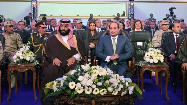 Egyptian President Abdel Fattah al-Sisi (R) and Saudi Crown Prince Mohammad Bin Salman (L) visit the city of Ismailia, Egypt March 5, 2018, in this handout picture courtesy of the Egyptian Presidency - Sputnik International