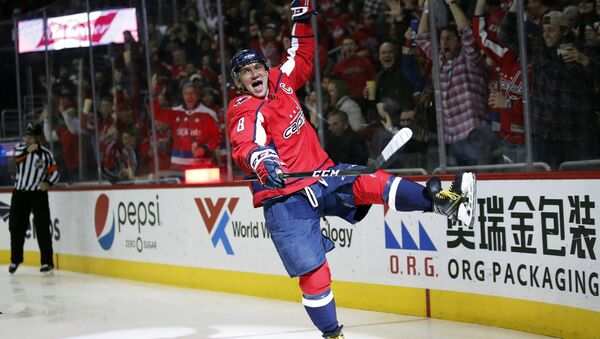 Washington Capitals left wing Alex Ovechkin celebrates his goal in the second period of an NHL hockey game against the Winnipeg Jets, Monday, March 12, 2018, in Washington - Sputnik International