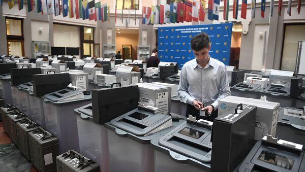Voting machines at the Information Center of the Central Election Commission of Russia - Sputnik International