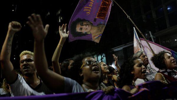 Demonstrators take part in a rally against the shooting of Rio de Janeiro city councilor Marielle Franco in Rio de Janeiro, Brazil March 16, 2018 - Sputnik International