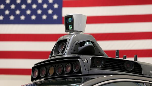 A roof mounted camera and radar system is shown on Uber's Ford Fusion self driving car during a demonstration of self-driving automotive technology in Pittsburgh, Pennsylvania, U.S., September 13, 2016 - Sputnik International