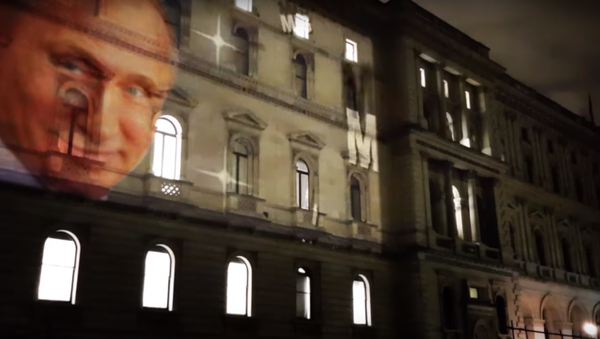 Putin on the front of the Foreign Office Building in London. - Sputnik International