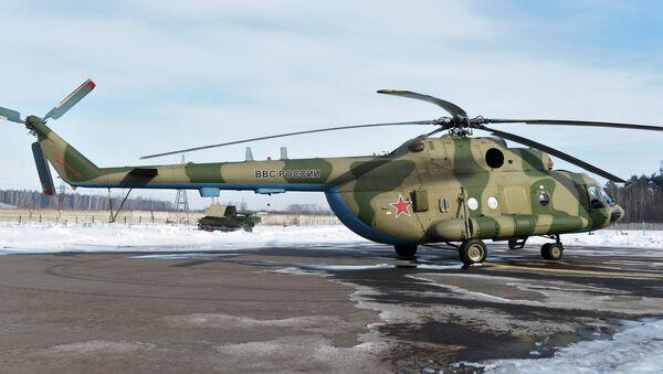 Mi-8 MTV-5-1 helicopter with the Rychag AV electronic warfare complex at the Kazan Optical-Mechanical Plant (KOMZ). File photo - Sputnik International
