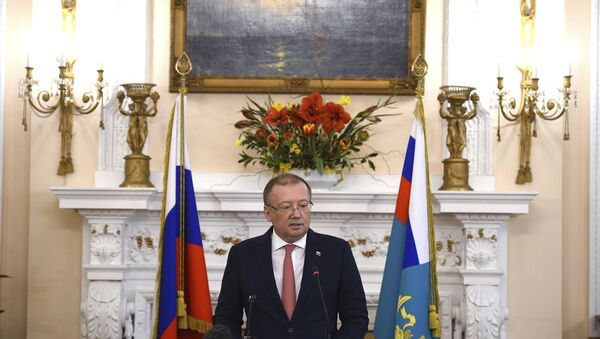 Russian ambassador Alexander Vladimirovich Yakovenko speaking at a news conference Thursday March 22, 2018, at his country's embassy in London in the aftermath of the Salisbury nerve agent attack on Russian double agent Sergei Skripal and his daughter Yulia. - Sputnik International