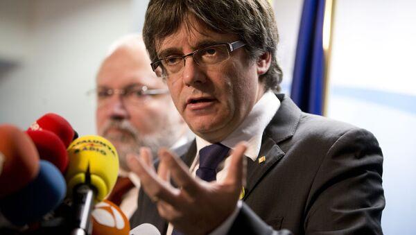 Ousted Catalan leader Carles Puigdemont speaks during a media conference in Brussels on Friday, Dec. 22, 2017 - Sputnik International