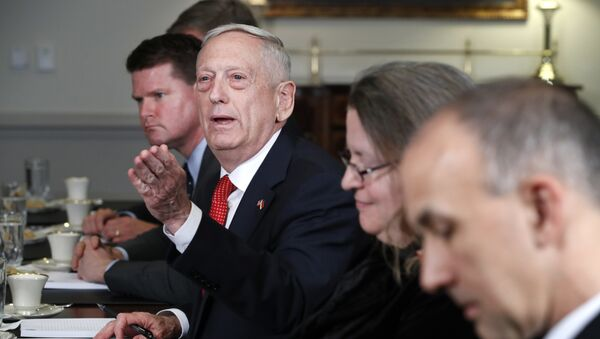 Secretary of Defense Jim Mattis answers a question from a reporter during his meeting with Indonesia's Minister of Foreign Affairs Retno Marsudi, Monday, March 26, 2018, at the Pentagon - Sputnik International