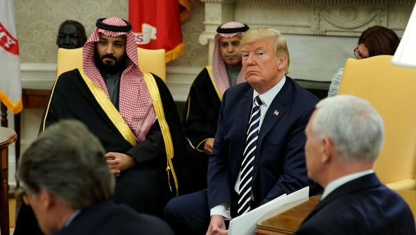U.S. President Donald Trump welcomes Saudi Arabia's Crown Prince Mohammed bin Salman in the Oval Office at the White House in Washington, U.S. March 20, 2018 - Sputnik International