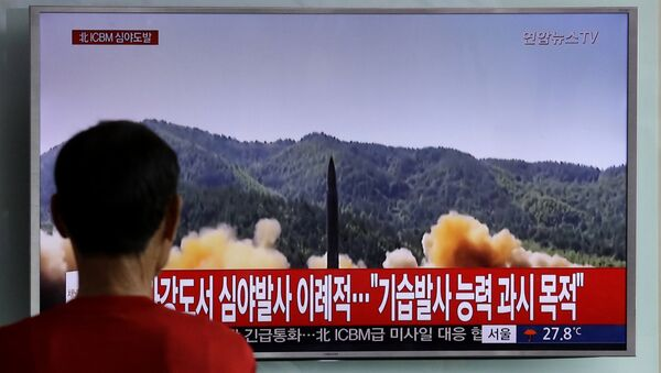 A man watches a TV news program showing a file image of a missile being test-launched by North Korea, at Seoul Railway Station in Seoul, South Korea. (File) - Sputnik International
