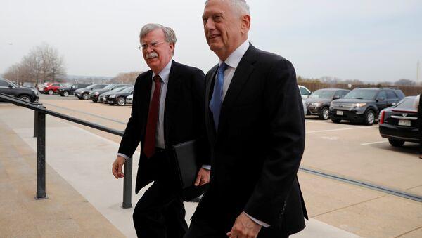 Secretary of Defense James Mattis greets Ambassador John Bolton, President Donald Trump's nominee to be National Security Advisor, as he arrives at the Pentagon in Washington, U.S., March 29, 2018. - Sputnik International