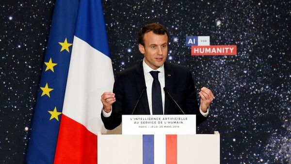 French President Emmanuel Macron delivers a speech during the Artificial Intelligence for Humanity event in Paris, France, March 29, 2018 - Sputnik International