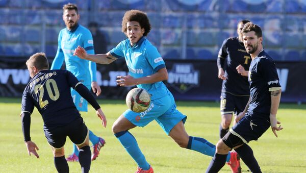 (File) Torpedo's Vadim Steklov, Zenit's Axel Witsel, and Torpedo's Dalibor Stevanovic during the Russian Football Premier League's Round 19 match between Torpedo Moscow and Zenit St. Petersburg - Sputnik International