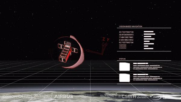 Artwork depicting a view from RemoveDEBRIS from its Vision Based Navigation system. - Sputnik International