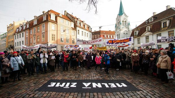Angry Parents' March in Riga against Latvian President Raimonds Vejonis's decision to declare a law on Latvian as the only language of instruction in schools - Sputnik International