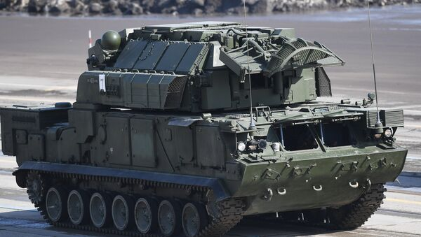 A TOR-M2U all-weather short range missile systems during the rehearsal of the Victory Parade at the Alabino military training ground in the Moscow Region - Sputnik International