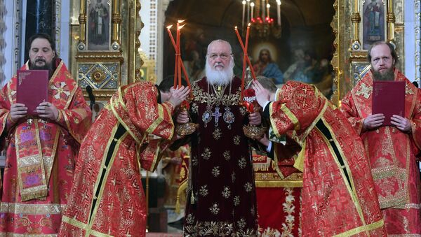Head of the Russian Orthodox Church, Patriarch Kirill of Moscow and All Russia, leads the festive Easter service. - Sputnik International