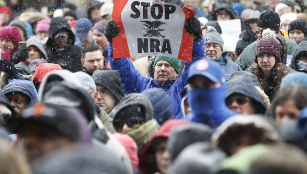 A demonstrator holds a STOP the NRA sign outside city hall during the March for Our Lives protest for gun legislation and school safety, Saturday, March 24, 2018 - Sputnik International