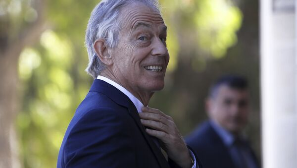 Former British Prime Minister Tony Blair arrives at the presidential palace for a meeting with Cyprus' President Nicos Anastasiades in capital Nicosia, Cyprus, Wednesday, April 4, 2018. - Sputnik International