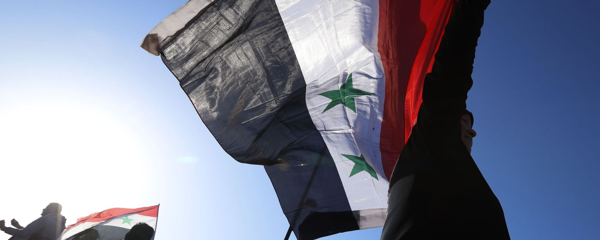A Syrian government supporter holds up a Syrian national flag as he chants slogans against U.S. President Trump during demonstrations following a wave of U.S., British and French military strikes to punish President Bashar Assad for suspected chemical attack against civilians, in Damascus, Syria, Saturday, April 14, 2018 - Sputnik International, 1920, 23.09.2021