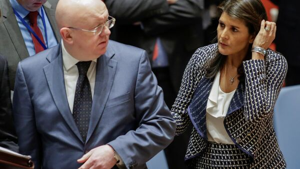 United States Ambassador to the United Nations Nikki Haley and Russian Ambassador to the United Nations Vasily Nebenzya are seen before the United Nations Security Council meeting on Syria at the U.N. headquarters in New York, U.S., April 13, 2018 - Sputnik International