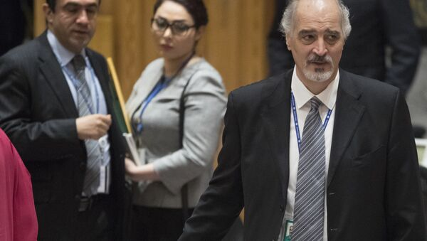 Syrian Ambassador to the United Nations Bashar Ja'afari leaves the Security Council chambers after meeting on the situation in Syria, Saturday, April 14, 2018 at United Nations headquarters - Sputnik International