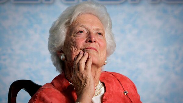 In this file photo from Friday, March 18, 2005, former first lady Barbara Bush listens to her son, President George W. Bush, as he speaks on Social Security reform in Orlando, Fla. - Sputnik International