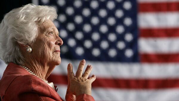 Former U.S. first lady Barbara Bush listens to her son, President George W. Bush, as he speaks at an event on social security reform in Orlando, Florida March 18, 2005 - Sputnik International