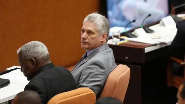Cuba's First Vice-President Miguel Diaz-Canel (C) takes part in a session of the National Assembly in Havana, Cuba - Sputnik International